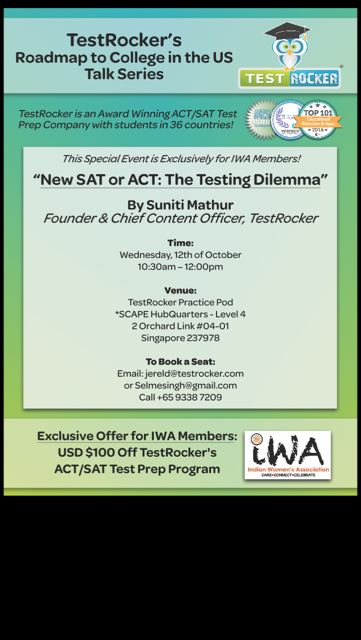 Indian Women's Association Singapore - New Sat or ACT:The